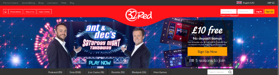 32red interface and top 15 casinos for high rollers